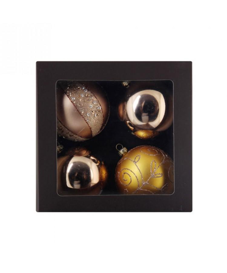 Selection of 2.76 inch Baubles in golden tones-1145