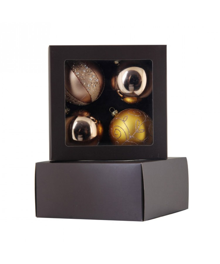 Selection of 2.76 inch Baubles in golden tones-1147