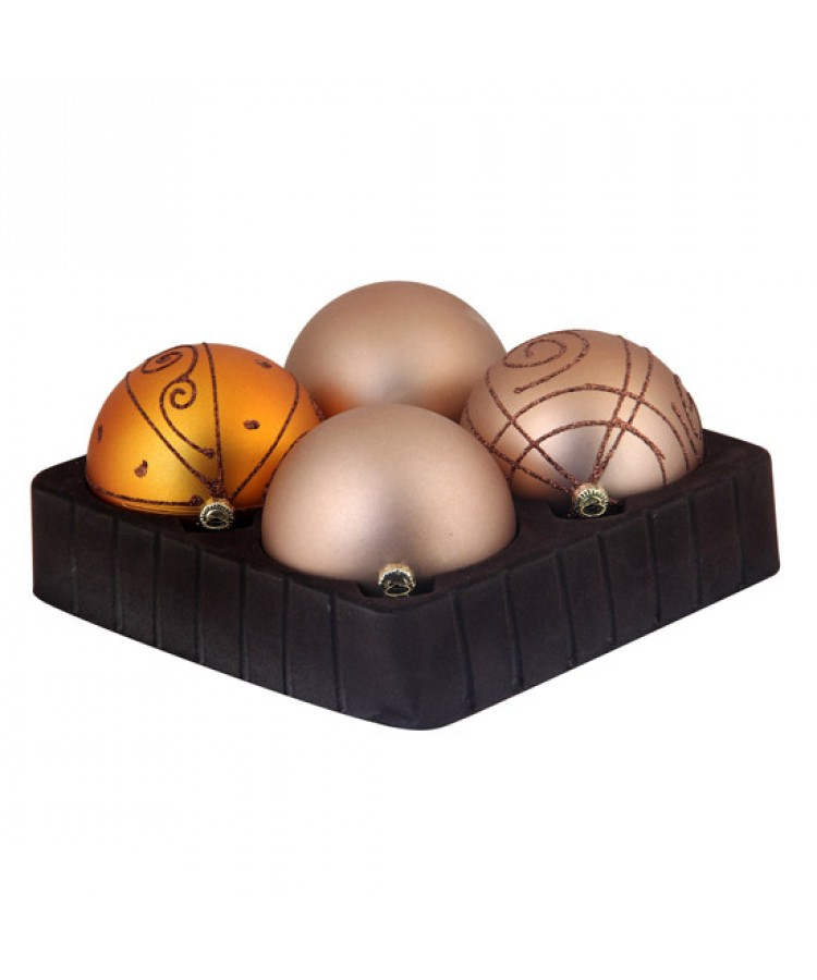 Selection of 3.15 inch Baubles in golden tones-0