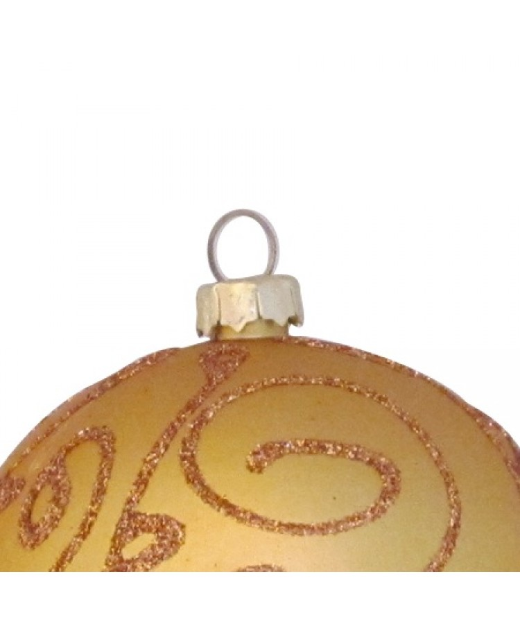 Selection of 2.76 inch Baubles in golden tones-1144